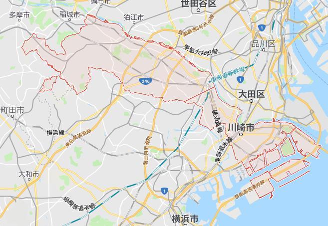 川崎市の隣接する自治体