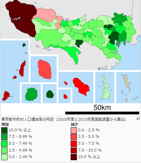 東京都市町村人口増減率分布図