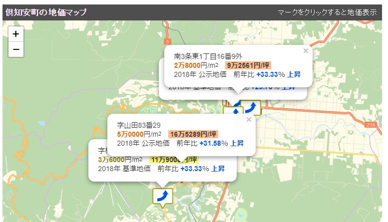 倶知安町の地価マップ